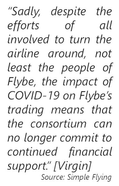 Virgin-FlyBE-Statement blaiming Corona virus
