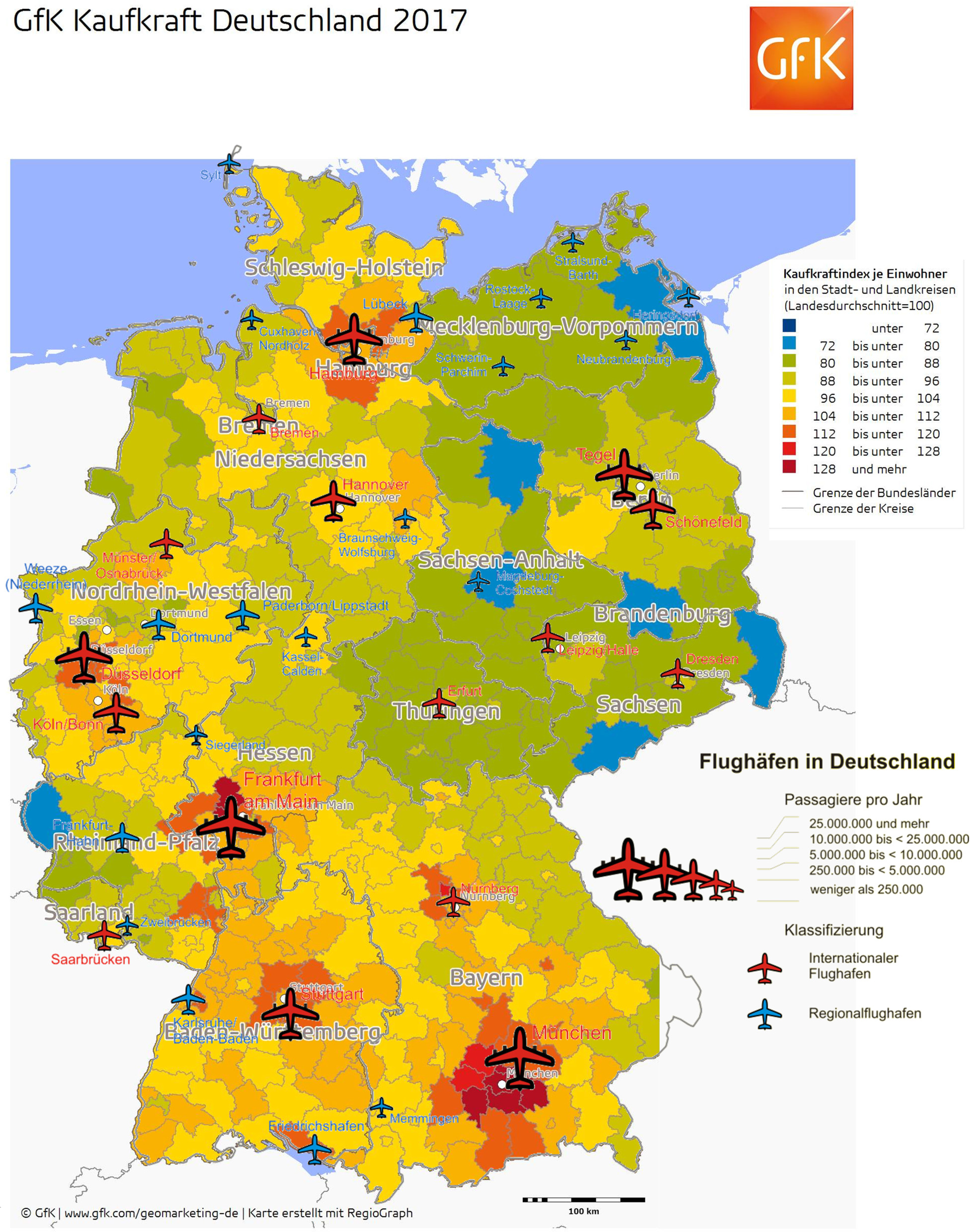 An overlay map of GFK Purchasing Power map Germany with the German airports from Wikipedia.