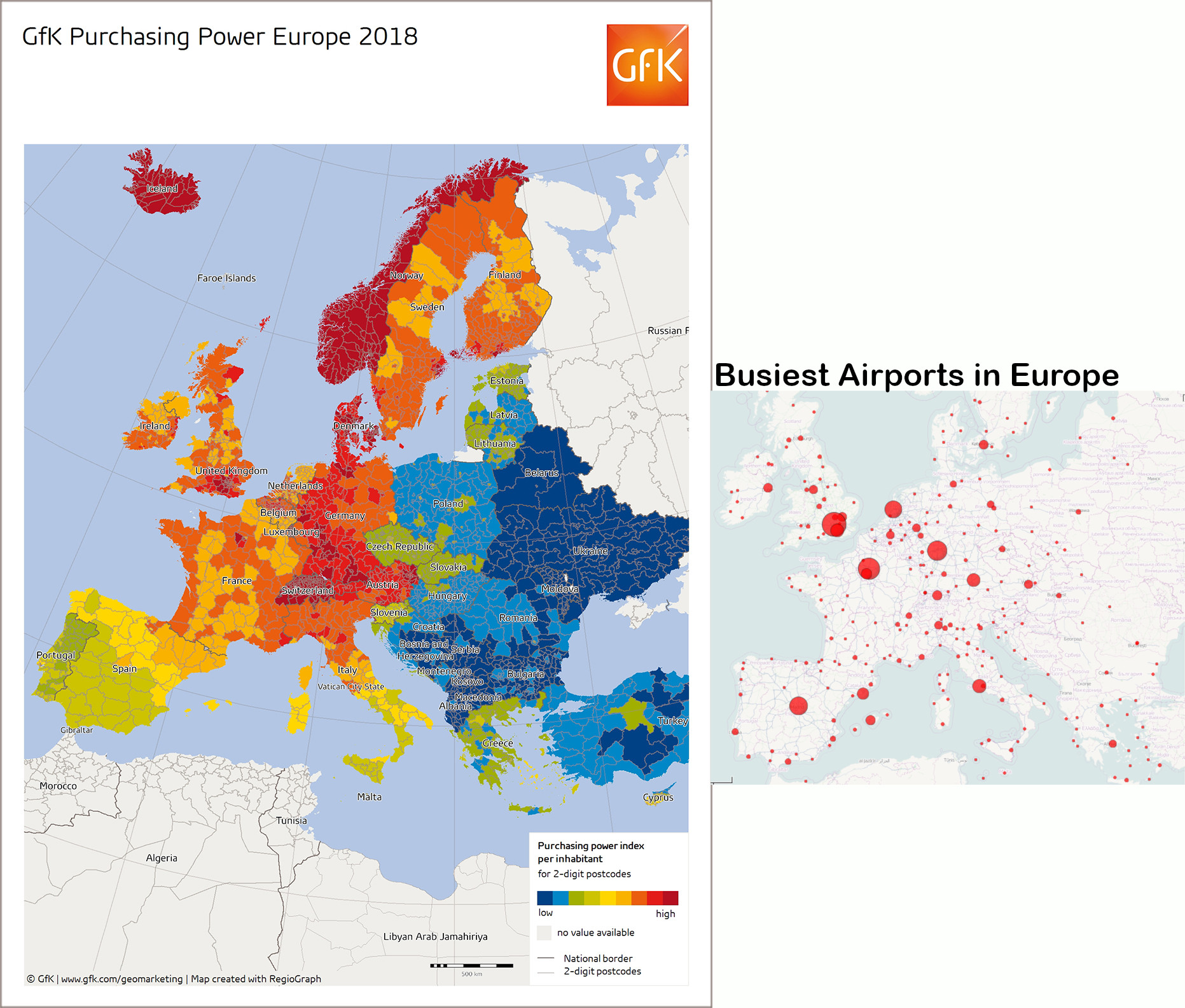 Maps of GFK Purchasing Power Europe 2018 and Wikiepedia Busiest Airports in Europe